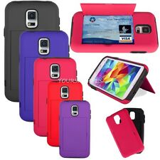 Dual Layer Hybrid Cradit Card Holder Case Shield Stand for Samsung Galaxy S5 S V