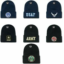 1 Dozen Embroidered US Military Beanie Beanies Long Knit Caps Cap Hats Wholesale