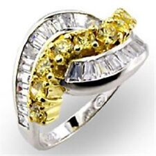 Z32817PB CITRINE CLEAR BAGUETTES STERLING  SILVER SIMULATED DIAMOND RING WOMENS