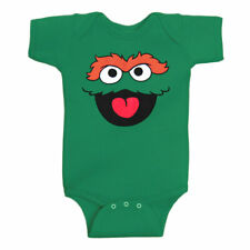 Sesame Street Oscar The Grouch Face Infant Onesie Romper New