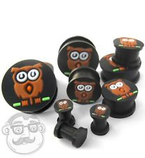 Pair of Black Silicone 3D Owl Ear Plugs / Gauges (2G - 1 Inch) Double Flare