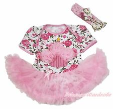 Pink Birthday Cake Floral Rose Bodysuit Pink Pettiskirt Girl Baby Dress NB-18M