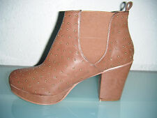 Ladies Brown High Heel Ankle Boots With All Over Studded Detail & Platform Sole.