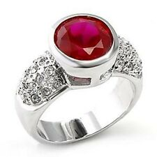 M6X223PB  BEZEL SET RUBY RED DESIGNER   PAVE SET WOMENS  SIMULATED DIAMOND RING