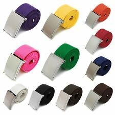 Hot Mens Boys Unisex Plain Webbing Cotton Canvas Metal Buckle Belt Candy Colors