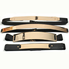 Elastic Mirror Metal Waist Belt Metallic Bling metal Gold plate Wide Obi Band M2