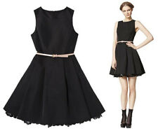NEW! JASON WU for Target Womens Black Flared Dress fully lined w pockets + belt