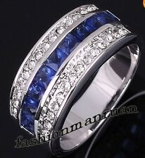 Noble artificial Sapphire & white topaz Gemstones silver Ring Size 6 7 8 9 10