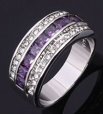 Noble artificial Amethyst & white topaz Gemstones silver Ring Size 6 7 8 9 10