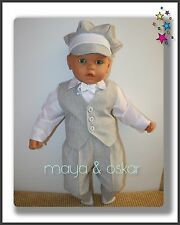 Baby Boy Grey Outfit Waistcoat Trousers Hat Smart Wedding Party Suit Christening