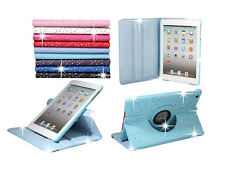 BLING FLOWER 360 DEGREES ROTATING SWIVEL LEATHER CASE FOR APPLE IPAD MINI 1 2