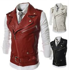Hot Men's Fashion Slim Fit Motorcycle PU Leather Bomber sleeveless vest lapel