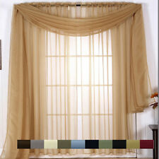 Luxurious Window Treatment, Solid Sheer Window Panels, Matching Window Scarfs