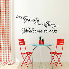 Every Family has a Story Wall Sticker quote Bedroom Kitchen Home Vinyl Decal Art