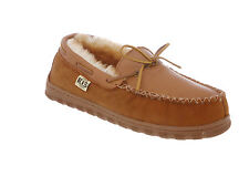 RJ's Fuzzies Mens Elk Leather Sheepskin Lined Rainer Moccasin