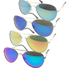 Small Aviator Sunglasses Colored Mirrored Lens Metal Vintage Style Frames