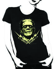 Rock Rebel Womens Frankenstein with Lightning Bolts T Shirt Black Small