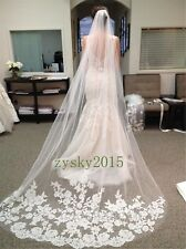 New White Ivory Beautiful Cathedral Length Lace Edge Wedding Bride Veil Comb Hot