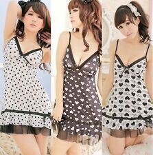 women Sexy Pajamas set lingerie sleepwear v-neck skirt dress&briefs panty #6916