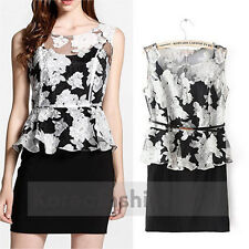 New Europe Women Ink Painting Organza Peplum Wear to Work Cocktail Party Dress