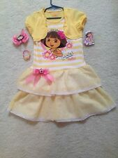 New Ready-Made Yellow Dora Dress (Girls/Toddler) w/ Matching Hair Bow & Bracelet
