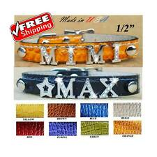 Custom made Dog - Cat Collars with half Rhinestone letters - Name Dog Collar -XS