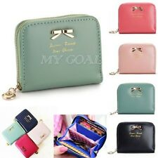 Mini Lady Bowknot PU Leather Purse Zip Small Women Clutch Wallet Card Holder Bag