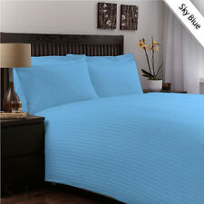 NATURAL 100% COTTON 1000TC  BLUE STRIPE BEDDING COLLECTION IN ALL SIZE