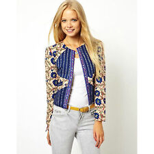New women's winter blue floral printed casual slim padded coat suit jackets SW21