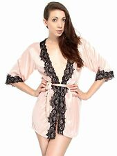 Satin Lace Robe Lingerie Pajamas Nightgown for Wife Valentines Day Gift