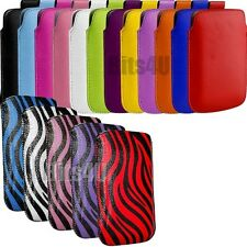 PU LEATHER PULL TAB POUCH SKIN CASE COVER FOR VARIOUS NOKIA ASHA MOBILES