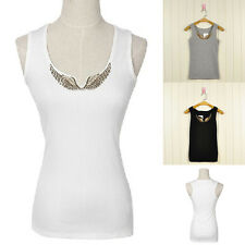 NEW Women Lady Girl Low-Cut Iron Wing Top Vest Tank