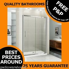 1000-1700 Sliding Shower Door Enclosure Cubicle Glass Chrome,Slim Stone Tray