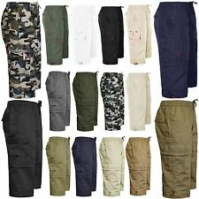 NEW MENS 3/4 LONG SHORTS ELASTIC WAIST POCKETS SUMMER SWIM BEACH CARGO COMBAT