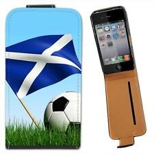 Scotland Scottish Flag with Black & White Football Leather Case for iPhone 4 4S