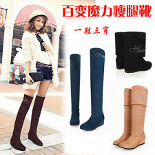 Lady Sexy Over Knee Boots 4cm Med Heels Shoes Smallest to Biggest Size US1-14