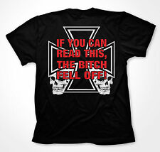 If You Can Read This The B*tch Fell Off Biker Motorcycle Rider Mens T-shirt