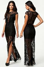 Sexy Black Paisley Lace Semi-flare Skirt Evening Cocktail Party Gown Maxi Dress