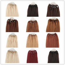 "100pcs 18""20""22""24"" Loop Micro Ring Beads Tipped Remy Real Human Hair Extensions"
