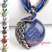Retro Elegant Millet Chain Cute Crystal Peacock Pendant Necklace Fashion Jewelry