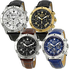 Invicta Signature II Chronograph Leather Mens Watch | Blue/Gold/Silver/Black
