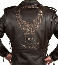 Mens Retro Brown Live to Ride Leather Motorcycle Biker Jacket Retails for $229