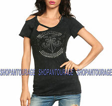 Affliction In Lights AW9722 New Women`s Top Black