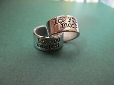 Hand stamped jewelry I love you more, I love you mostest two rings