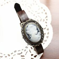 Woman with short hair blue leather leather ladies watch bracelet watch