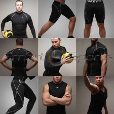 Mens BLACK Tops Pants Shorts Lightweight or Thermal BaseLayer Compression Take 5