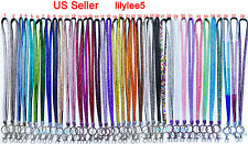 US Seller New Rhinestone Crystal Bling Lanyard ID Badge Cell Phone / Key Holder