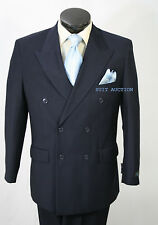 NEW MEN'S DOUBLE BREASTED HEATHERED NAVY DRESS SUIT