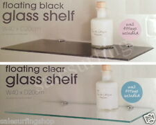 FLOATING GLASS SHELF - IDEAL FOR BATHROOM - CHOOSE FROM BLACK OR CLEAR