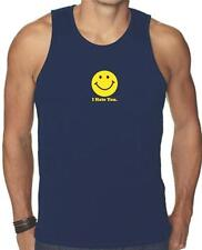 NEW FOR Men's Printed SMILEY FACE I HATE YOU FUNNY MMA SMILE GRAPHIC Tank Top